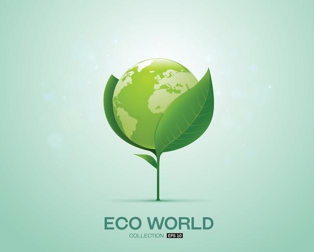 Mondo su foglia mondo eco mondo verde