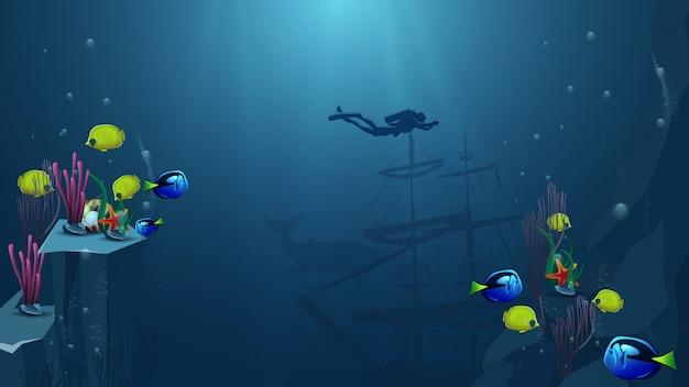 Mondo subacqueo, illustrazione vettoriale con operatore subacqueo