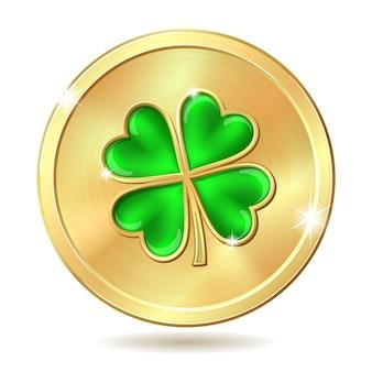 Moneta d'oro con trifoglio.