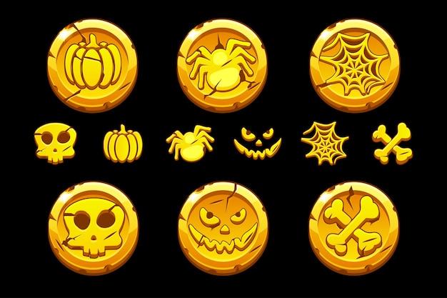 Moneta d'oro. imposti le monete del fumetto con i simboli di halloween per giocare all'interfaccia utente del gioco