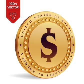 Moneta da un dollaro. moneta d'oro fisica 3d