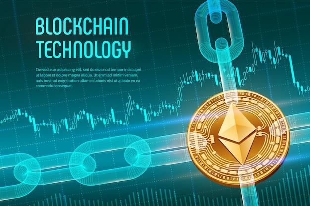 Moneta dorata fisica di ethereum con la catena del wireframe su fondo finanziario blu. concetto di blockchain.