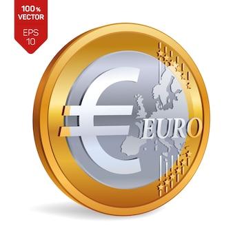 Moneta euro. moneta fisica 3d isolata.