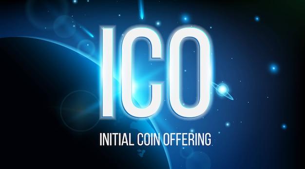 Moneta iniziale ico con sfondo blockchain.