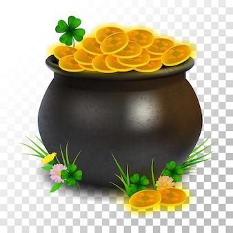 Moneta realistica del vaso del giorno di st patrick dell'illustrazione su trasparente