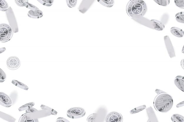Monete antiche d'argento lucide luminose, pioggia d'argento su bianco