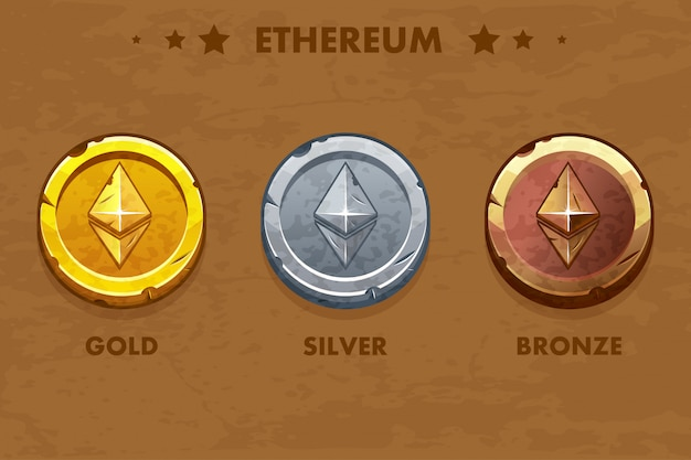 Monete antiche ethereum isolate in oro, argento e bronzo. criptovaluta digitale o virtuale. moneta e contanti elettronici