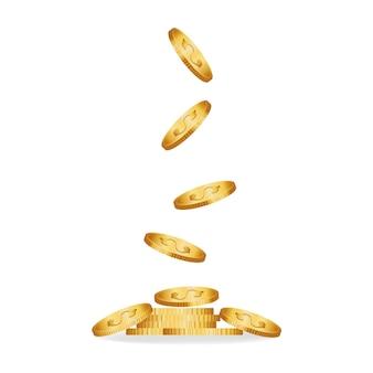 Monete che cadono illustrazione vettoriale.