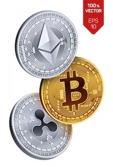 Monete d'argento e d'oro con il simbolo bitcoin, ripple ed ethereum su bianco