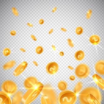 Monete d'oro 3d dollaro ed euro