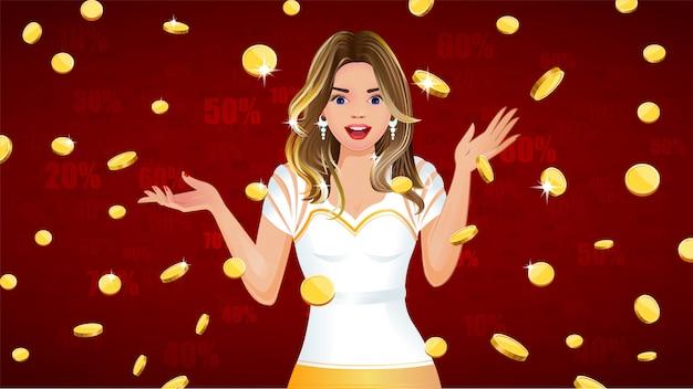 Monete d'oro che cadono con ragazza sorpresa