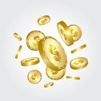 Monete d'oro che cadono.