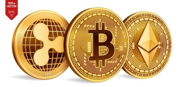 Monete d'oro di criptovaluta con il simbolo bitcoin, ripple ed ethereum su sfondo bianco.