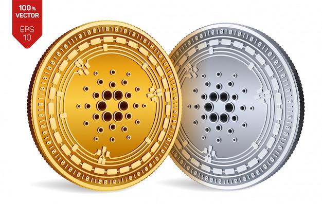 Monete d'oro e d'argento di criptovaluta con il simbolo cardano isolato su sfondo bianco.