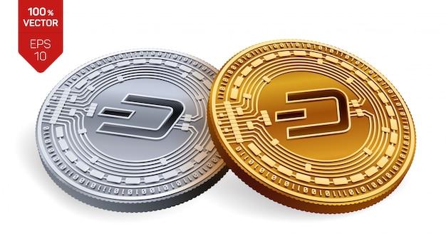 Monete d'oro e d'argento di criptovaluta con il simbolo dash isolato su priorità bassa bianca.