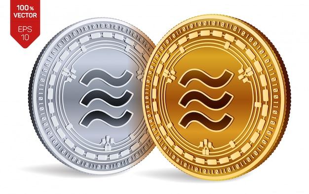 Monete d'oro e d'argento di criptovaluta con il simbolo della bilancia isolato su priorità bassa bianca.