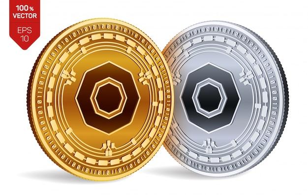 Monete d'oro e d'argento di criptovaluta con il simbolo di komodo isolato su sfondo bianco.