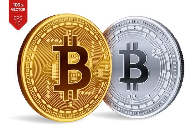 Monete d'oro e d'argento di criptovaluta con simbolo bitcoin cash e simbolo bitcoin isolato su sfondo bianco.