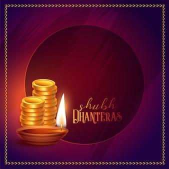 Monete d'oro e diya felici dhanteras