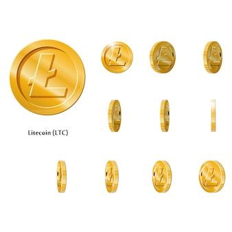 Monete d'oro ruotano litecoin