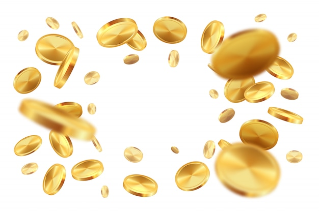 Monete d'oro. soldi realistici del premio della lotteria della pioggia dei soldi del jackpot che cadono contanti. insegna con le monete e il copyspace di caduta realistici