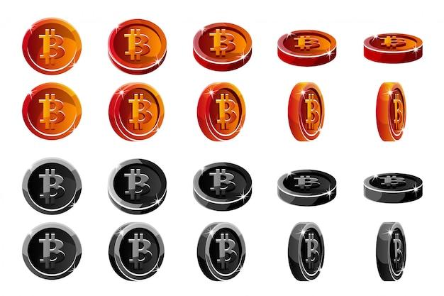 Monete di bitcoin 3d rosse e nere di rotazione di animazione di vettore. valute digitali o virtuali e contanti elettronici.