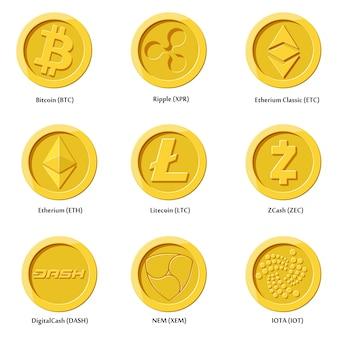Monete di icone di valuta crittografica