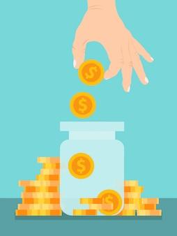 Monete di risparmio della mano nell'illustrazione di vetro del barattolo. concetto di vaso di soldi.