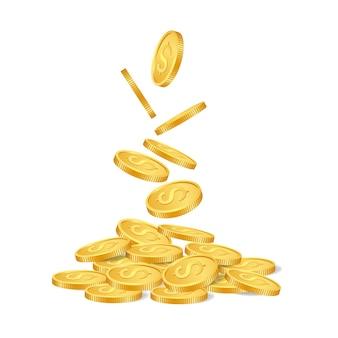 Monete dorate cadenti isolate su fondo bianco.