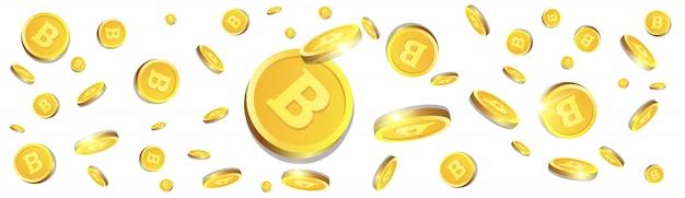 Monete dorate di bitcoins 3d che sorvolano fondo bianco insegna orizzontale di concetto di criptovaluta