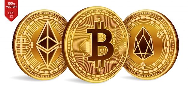 Monete dorate di criptovaluta con il simbolo bitcoin, eos ed ethereum su sfondo bianco.