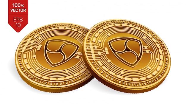 Monete dorate di criptovaluta con il simbolo di nem isolato su priorità bassa bianca.
