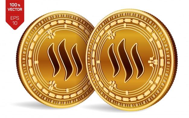 Monete dorate di criptovaluta con il simbolo di steem isolato su priorità bassa bianca.