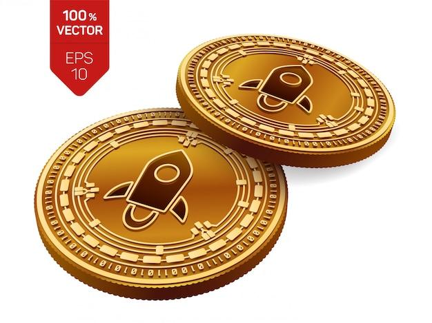 Monete dorate di criptovaluta con il simbolo stellare isolato su priorità bassa bianca.