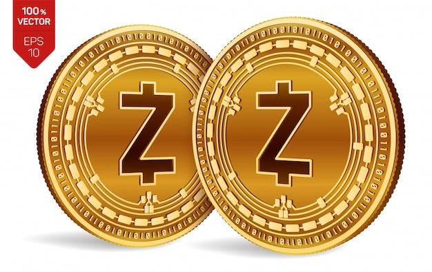 Monete dorate di criptovaluta con il simbolo zcash isolato su sfondo bianco.