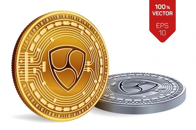 Monete dorate e d'argento di criptovaluta con il simbolo di nem isolato su priorità bassa bianca.