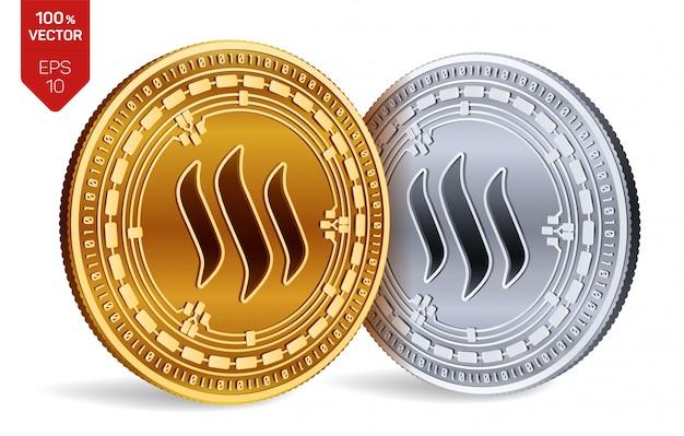 Monete dorate e d'argento di criptovaluta con il simbolo di steem isolato su fondo bianco.