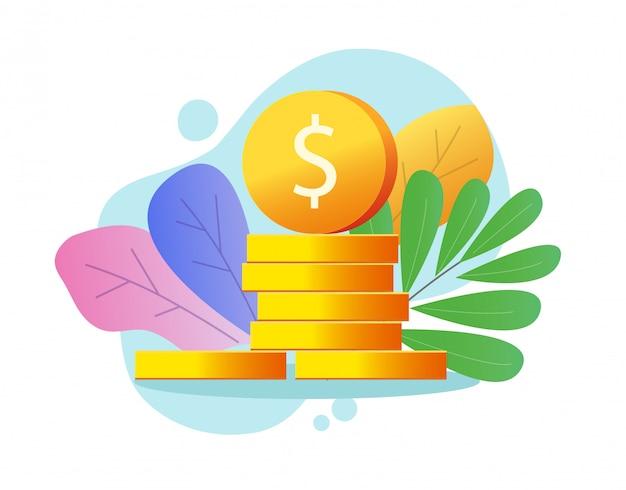 Monete impilate o pila di soldi d'oro
