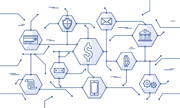 Money online, transazione di pagamento sicura, meccanismo di pagamento. fintech (tecnologia finanziaria) sfondo. illustrazione di stile piatto blu.