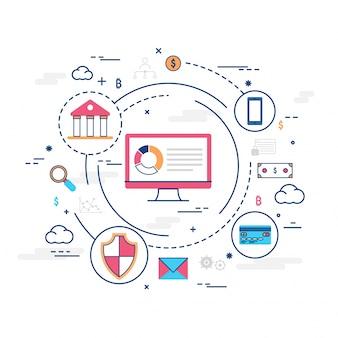 Money online, transazione di pagamento sicura, meccanismo di pagamento. fintech (tecnologia finanziaria) sfondo. illustrazione di stile piatto variopinto.