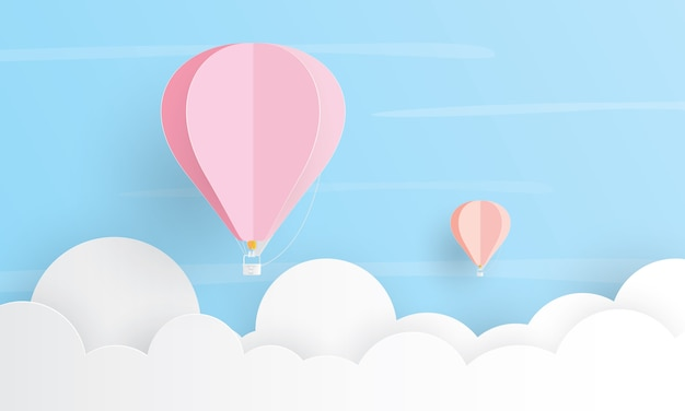 Mongolfiera che vola sopra la nuvola, concetto di vacanza, taglio strato di carta