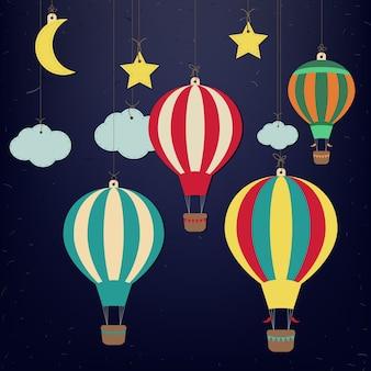 Mongolfiera e luna con stelle. vettore carta-arte
