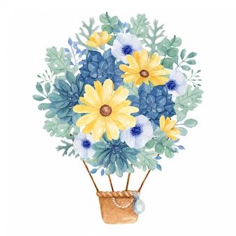 Mongolfiera floreale dell'illustrazione disegnata a mano dell'acquerello nei colori gialli e blu.