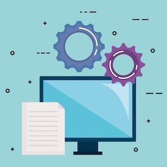 Monitor del computer con il lavoro di squadra