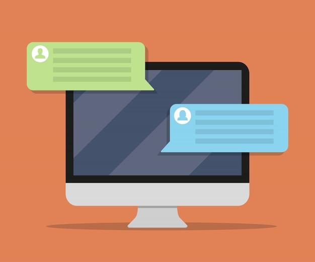 Monitor del computer con messaggio di chat