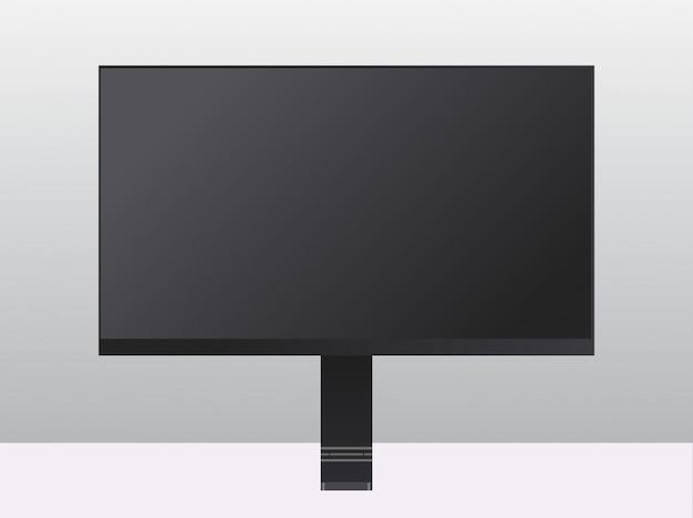 Monitor moderno del computer con il concetto realistico dei dispositivi e dei dispositivi del modello dello schermo nero in bianco