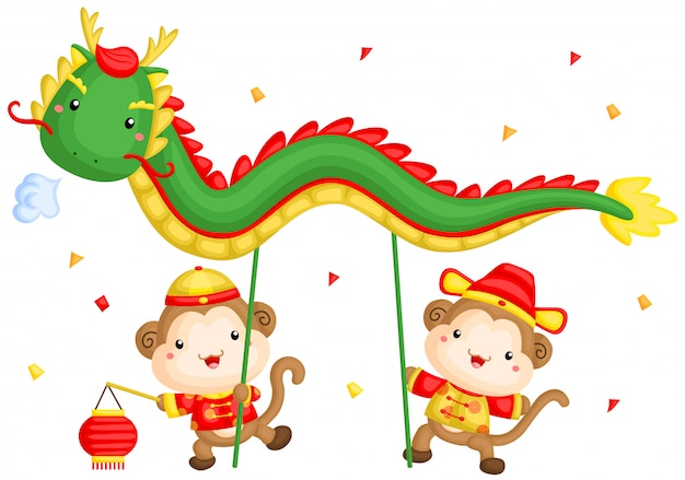 Monkey chinese dragon dance