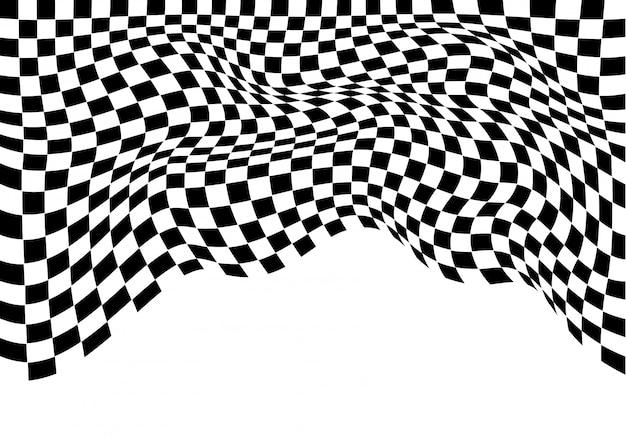 Monocromio ondulato a scacchi su sfondo bianco isolato.