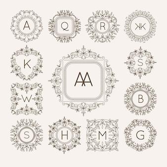 Monogram bage logo vettoriale