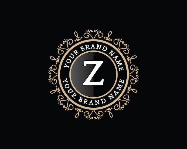 Monogramma disegnato a mano floreale dorato calligrafico antico design di lusso in stile vintage logo con corona adatta